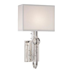 Robert Abbey Lighting - Robert Abbey Mary McDonald Ondine Wall Sconce in Silver - Mary McDonald Ondine wall sconce by Robert Abbey.  Silver plate finish with crystal accents and available with an off-white, black, or taupe shade.  The sconce is also available in a small or large size.