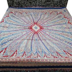 Reversible Pashmina Bedspreads - Indian Bedsheet Red Floral Pashmina Bedcover Jamavar Blanket