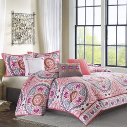 Madison Park - Madison Park Penza 7-piece Comforter Set - Get a taste of Indonesia in the bedroom with the Penza Comforter Collection. The 210 thread count comforter and shams feature dusty shades of coral,orange,fuchsia and grey in a beautiful medallion motif.