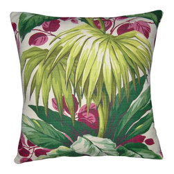 "Mid Century Home USA - Tropical Pillow Cover ""Green Palms"" - This pillow cover was made from a  heavy, textured barkcloth fabric from the 1950's.  The design is quintessential ""1950's Tropical"".  Colors are stunning!  Rose & yellow/gold, white, gray and green sit on a soft soff white background.  The back is constructed of a coordinating kelly green duck cloth canvas. Note:  Sized for 18"" pillow insert.  The seams are professionally serged to prevent fraying.���"