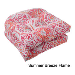Pillow Perfect - Pillow Perfect Summer Breeze Polyester Tufted Wicker Outdoor Seat Cushions (Set - Add a splash of color to your patio furniture with these outdoor seat cushions by Pillow Perfect. Featuring an intricate floral pattern for a contemporary appeal, these vibrantly colored pillows are weather resistant to ensure long-lasting durability.