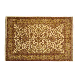 Ivory Agra Oriental Rug Hand Knotted 6' x 9' 100% Wool Natural Dyes Rug SH16189 - Hand Knotted Oushak & Peshawar Rugs are highly demanded by interior designers.  They are known for their soft & subtle appearance.  They are composed of 100% hand spun wool as well as natural & vegetable dyes. The whole color concept of these rugs is earth tones.