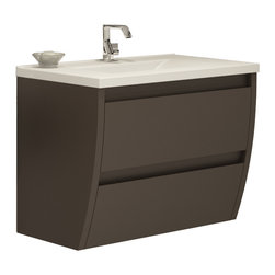 "Macral - Macral Flow 32"" Bathroom Vanity, Toffee Matt Lacquered - Very decorative wall-mounted bathroom vanity."