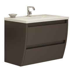 "Macral - Macral Flow 32"" Bathroom Vanity, Toffee Matt Lacquered - Very decorative wall-mounted bathroom vanity."