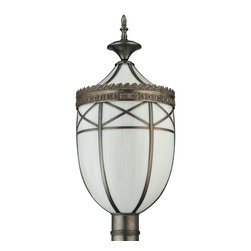 """Meyda Lighting - Meyda Lighting 11"""" W Borough Hall Post Mount - Perfect For Large Commercial, Residential And Institutional Applications, Borough Hall Offers An Old World Look Of Simple Elegance Paired With An Impressive Size That Complements Most Interior Or Exterior Design Schemes Used With Larger Spaces. Reproduced From An Antique Transitional Craftsman Design, It Is Handcrafted With 12 Panels Of Kiln-Bent Revival White Art Glass And Craftsman Brown Finished Brass This Pendant Was Handcrafted By The Skillful Hands Of Meyda Artisans In The Yorkville, New York Manufacturing Facilities. Applicable For Wet Locations, Low Voltage Transformer Powers One Metal Halide"""