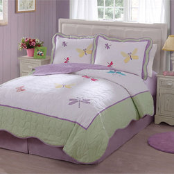 None - Dragonfly Applique Embellished Quilt Set - Little girls will adore this whimsical dragon fly cotton quilt set. With its pink,soft green,and light blue,these quilts will set imaginations aglow and provide lots of warmth. Comes as a twin quilt with one sham or a queen quilt with two shams.