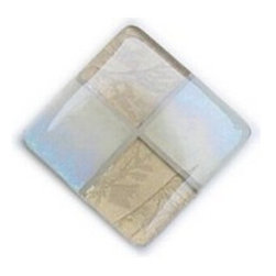 Glace Yar - Opals in the Sand - Four Tile Glass Cabinet Knob, Polished Chrome - Stunning, Eggshell, Opalescent, Iridescent  Glass and Beige, Glue Chip (fern-like design) Glass nestled in beige grout. Because items are made to order, this can result in longer lead times.