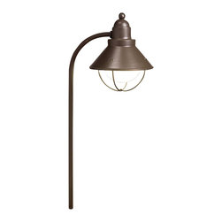 LANDSCAPE - LANDSCAPE Traditional Marine Lantern Path Light X-ZO93251 - A marine inspired shade hung from a side mount and finished in a warm Olde Bronze finish, this Kichler Lighting outdoor path light can also double as lighting for gardens and other outdoor spaces.
