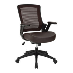 Modway Furniture - Modway Veer Office Chair in Brown - Office Chair in Brown belongs to Veer Collection by Modway Chart new territory while seated from the comfort of the Veer Chair. Veer features a form-fitted breathable mesh back and padded waterfall vinyl seat to keep your back and thighs posture perfect. Easily adjust the height of Veer's arms to match your seating position and height. Securely lock your back in place with a user friendly seat tilt plus tension control knob--perfect for adjusting the chair to correctly fit your body weight. Adjust the seat height with a one-touch pneumatic lift with hooded dual-wheel casters to ensure effortless gliding over carpeted offices. Veer is a chair built for the progressive worker. Make yourself stand out as you venture forth from a place of naturally efficacious activities. Set Includes: One - Veer Office Chair Office Chair (1)