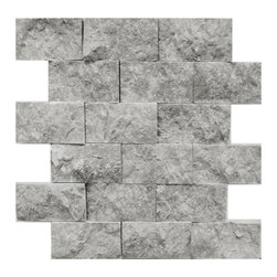 STONE TILE US - Stonetileus 4 pieces (4 Sq.ft) of Mosaic Tile Silver Marble 2x4 Split Face - Mosaic Tile Silver Marble 2x4 Split Face Silver marble, excellent for kitchen backsplash, bathroom, shower wall or any other special areas. You can create seamless surface with this mini french pattern mosaic, for easy intallation back side covered with mesh. You can use grout or thinset. Sealing is not necessary but recommended to all natural stone tiles.Free shipping.. Set of 4 pieces, Covers 4 sq.ft.