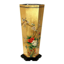 Oriental Furniture - Gold Leaf Umbrella Stand - This gilded umbrella stands makes an outstanding, eye catching accent in a foyer or entry.  Imported from the far East, where it was handmade in a family-owned artisans' collective, it will impart a subtle, exotic beauty to your home.  Each has been individually hand painted and gilded using traditional techniques with authentic 24 carat gold leaf.