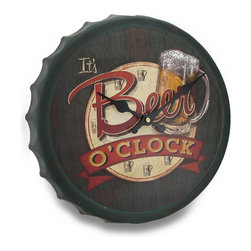 Zeckos - Beer Time Bottle Cap Shaped Vintage Pub Style Tin Wall Clock 12 Inch - This vintage style pub clock spreads quite an important message stating 'It's Beer O'clock' on the face Crafted from tin, this 12.5 inch diameter, 1.5 inch deep (32 X 4 cm) features a weathered finish adding to the vintage vibe perfect for your bar, man cave, entertainment room or even the garage The quartz movement requires just 1 AA Battery (not included), and it easily mounts using the attached keyhole hanger on the back. It's amazing as a gift sure be to enjoyed