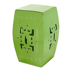 Belle & June - Lime Green Square Hook Garden Stool - This classic Chinese garden stool instantly adds an artistic element to your space. Add a touch of glamour to your bedroom, use it as a pedestal for a tall oriental vase or put it in your entryway for a mysterious Asian accent.
