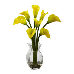 Nearly Natural - Classic Calla Lily Arrangement - One aspect of the Calla is the combination of strength (their bold stems) and beauty (the lush fluted blooms). Together they create a look that simply cannot be duplicated by any other plant (live or otherwise). This wonderful reproduction captures that beauty for the world (or your family and friends) to see, complete with glass vase, river rock, and faux water.