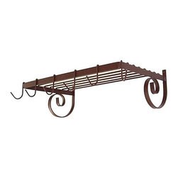 "Grace Collection - Wall Mount Pot Rack w Shelf (Aged Iron) - Finish: Aged IronThis handy Wall Mount Iron Shelf Pot Rack provides 6 hooks for hanging pots and kitchen accessories and features a 24"" by 13"" grid shelf for additional storage.  The rack is available in your choice of 8 different durable powdercoated finishes.  This wall mount pot rack is made of sturdy steel that comes in your choice of 8 finishes, and features a scroll work design, 8 hooks for hanging cook ware or other items, and a grid for even more storage capacity.  This rack enhances your kitchen décor and adds a decorative touch wherever you put it. * Wall mounted. Made from wrought iron. Rectangular shape. 25 in. W x 13 in. D x 8 in. H (10 lbs.). Includes six 0.18 in. cold rolled steel hooks and mounting hardware. 0.75 in. flat steel shelf and curls. Shelf for storage pots, books or other kitchen items on top. Adorned with French curls sides"