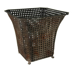 Oriental Furniture - Wrought Iron Fluted Square Waste Basket - Modeled after vintage cane webbing from the Victorian era and finished with a rich faux-rust patina, this handsome wastebasket exemplifies fine taste and timeless style. Lightweight and practical, this bin is ideal for bringing a rustic accent to the modern home.