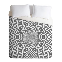 DENY Designs - Lisa Argyropoulos Helena Duvet Cover - Bedeck your bed with a kaleidoscopic print in a subtle color combo that won't keep you awake at night. But beware — the super-soft material will tempt you to sleep in.