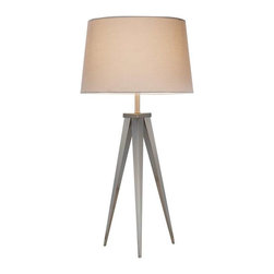 Adesso - Adesso Producer Table Lamp, Satin Steel - 3263-22 - Modeled after our Director collection, these tripoid lam have a satin steel base with and off-white tapered drum shade