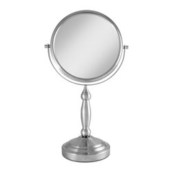 """Lamps Plus - Contemporary Satin Nickel Dual-Sided 10x Magnified Makeup Mirror - Magnified makeup mirror. Satin nickel finish. Dual-sided mirrors offer 10x and 1x magnification. Mirror head swivels 360 degrees. Non-slip base.  Mirror only is 7 1/2"""" round. 9"""" wide. 16"""" high. 5"""" deep.         Magnified makeup mirror.  Satin nickel finish.  Dual-sided mirrors offer 10x and 1x magnification.  Mirror head swivels 360 degrees.  Non-slip base.  Mirror only is 7 1/2"""" round.  9"""" wide.  16"""" high.  5"""" deep."""