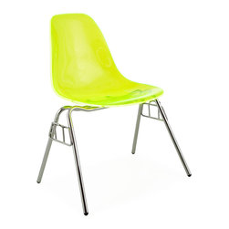Vertigo Interiors - Eames Style Special Edition Ghost Style DSS Side Stacking Dining Chair, Green - Looking for that retro/modern look? Something with a range of colors and quirky styling, yet a classic, cultured look? Vertigo's fantastic reproduction Eames range constantly continues to grow in popularity and is just what you're looking for! This is the Stacking version of this legendary design, combining metallic legs with sleek colorful side chair seat. The DSS base features the a four-legged chrome base that is stackable up to 10 high and it is paired with a transparent acrylic chair top.