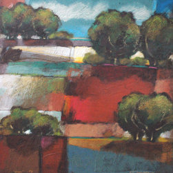 """""""Patchwork Valley"""" by Robert Chapman - Born in 1948 in Newton, Kansas, Robert Chapman moved with his family to Phoenix, Arizona at the age of nine. At the age of twelve he knew that he was going to be an artist and he has never swerved from that course. After his college career was interrupted by military service, he returned to Arizona State University and graduated in 1976 with a Bachelor of Fine Arts degree in printmaking, specializing in etching and woodcuts. It was during his studies that Chapman developed a real reverence for art and the process of printmaking, and acquired knowledge of his craft."""