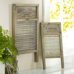 Vintage Washboards - Hang an old-school washboard in your laundry room to keep yourself humble. And, count your blessings that the modern day washer was invented. Can you imagine having to scrub your whites, darks and colors by hand?