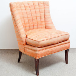 Vintage Scallop Back Slipper Chair, Orange Sorbet by The Spring Fox - How fantastic is this retro slipper chair? It boasts the most fantastic orange sherbet coloring.