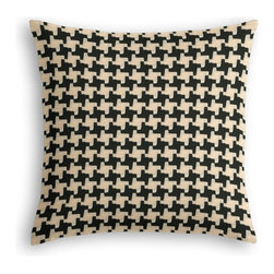 Black & White Knit Houndstooth Custom Throw Pillow - The every-style accent pillow: this Simple Throw Pillow works in any space.  Perfectly cut to be extra fluffy, you'll not only love admiring it from afar but snuggling up to it too!  We love it in this chunky knit black & white houndstooth. perfect for adding cozy texture to any aesthetic from modern to traditional.