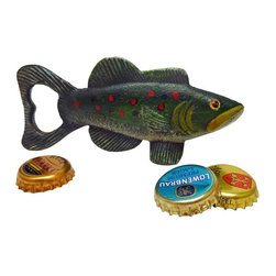 EttansPalace - Trout Tales Cast Iron Bottle Opener: Set of Two - Instead of being the fish that got away, this antique replica opens bottles with retro style! Hand-crafted exclusively for using the time-honored sand cast method, this antique replica cast iron bottle opener, free-standing fish figurine is hand-painted to capture vintage details from bulging eyes to fins. The oversized tail of this fisherman s gift opens your pop tops!