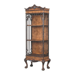 Ambella Home - Intrigue Book / Display Case - Talk about a special case! Elaborate carvings and ironwork unite — the ideal piece to display your treasures while making a statement in your decor.