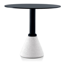 Magis - Magis Table One Bistro Round Table - Don't forget to tip, because this bistro table's not going to. The conical base is made of concrete so it's sturdy enough to handle your two cappuccinos and that heated conversation about Sartre — or who's paying the electric bill this month. The sleek black top will keep you looking good and grounded.