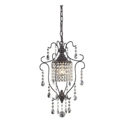 Sterling Industries - Sterling Industries Storybrook-Mini Pendant in Aged Bronze (140-006) - Sterling Industries Storybrook-Mini Pendant in Aged Bronze with Clear Crystal (140-006)