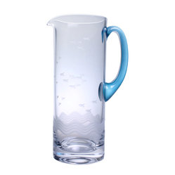 Rolf Glass - Seabreeze Pitcher with Blue Handle 35oz - You will happily serve any summery beverage from sparkling water to lemonade to Margaritas in this tall, 35-ounce glass pitcher with its striking blue handle. Playful swimming fish in the waves are etched into the glass.