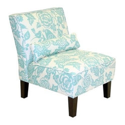 Bird and Floral Print Slipper Chair - Robin's Egg