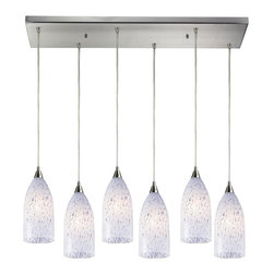 Joshua Marshal - Six Light Satin Nickel Multi Light Pendant - Six Light Satin Nickel Multi Light Pendant