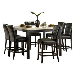 Homelegance - Homelegance Archstone 7 Piece Counter Height Dining Room Set with Black Chairs - Contemporary design, sleek seating and the combination of black finish with white accents are all the ingredients you need to create a stylish setting for exceptional dining. The white faux marble top pairs perfectly with a cut out center chair back, the color contrast and stylish design create a rich visual enhancement. Chairs are available in white bi-cast vinyl and black bi-cast vinyl.