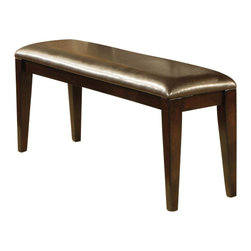 Steve Silver - Victoria Bench - A modern classic, the Mango Bench yields functional design and solid wood construction. Defined as casually elegant, the mango finish and durable chocolate vinyl seat adds depth and character to this truly transitional piece.