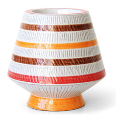 Jonathan Adler Medium Sgraffito Candleholder in Sgraffito - The colors, scale of the stripes, pottery technique, and shape of this funky candleholder add a bit of groovy retro style to any room in your home. The coolest part? It can hold a pillar or a long taper - genius!