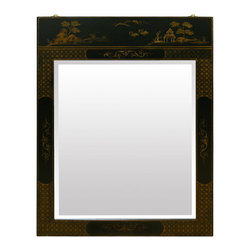 China Furniture and Arts - Chinoiserie Scenery Motif Mirror - A scenery designed to fit the frame, this mirror is hand-painted with gold highlighted Chinoiserie motif. Nicely suited to hang above a cabinet or chest. Beveled mirror.
