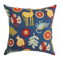 The Pillow Collection - Derain Floral Pillow Blue - Make a bold fashion statement to your interiors by decorating this striking throw pillow. This accent pillow will certainly brighten up your interiors with its blend of animal and floral patterns. Using an interesting color palette with shades of blue, red, yellow, orange and white, this square pillow is great for various settings. Made from 100% plush and soft cotton fabric. Hidden zipper closure for easy cover removal.  Knife edge finish on all four sides.  Reversible pillow with the same fabric on the back side.  Spot cleaning suggested.