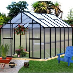 Riverstone Industries Monticello 8 x 12 ft. Premium Greenhouse Kit - Gardening is both an art and a science, and the Riverstone Industries Monticello 8 x 12 ft. Premium Greenhouse Kit helps you maximize your creative energy with technological know-how. By taking some of the variables out of nature, this greenhouse allows you to start your crop early and even produce year round. Careful, smart growers are always looking for safe, sustainable ways to extend their growing season. With commercial-grade materials, this greenhouse allows you to do just that.The Monticello Greenhouse by Riverstone Industries uses the highest-quality extruded aluminum available - over 55 lbs. more than an average imported greenhouse of this size. Furthermore, it uses high-impact, UV-stable 8mm twin wall polycarbonate for the walls and roof, whereas most other greenhouses on the market use less expensive materials that they shave down as thin as .2mm. These extra measures of strength pay off by securing your greenhouse and all its precious contents from snow loads up to 24 pounds per square foot and from gusts of wind up to 113 miles per hour, making this far stronger than the average greenhouse. In addition to this obvious ability to hold up under strenuous natural conditions, these high-quality materials also make the greenhouse's growing potential more efficient, stretching the natural season longer and cutting down on electric bills for those looking to grow year round.As if top-quality materials weren't enough, Riverstone Industries has also equipped this premium package with a slew of features to help you make the most of your horticultural efforts. This greenhouse's workbench and sink - the only one found in the industry - will help you plan out your plantings and minimize your work time and effort. Its unique interior shade system will help you prevent sun scorching on more sensitive leaves and flowers, while the automatic roof vents will enable you to keep a good temperature and airflow. This greenhouse even comes equipped with gutters as part of its automatic watering system to help make the most of the elements that nature already provides. Even with all these features and commercial stability, Riverstone has made sure to keep assembly simple so that even an inexperienced builder can put this greenhouse together in less than a day, allowing you to jump right into your planting and production, which is the reason you bought it in the first place.Additional features:Features work bench systemIntegrated flush-base designHigh-impact, UV stable 8 mm twin polycarbonate walls and roofHeavy-duty extruded aluminum frameTwo 2 x 2-ft. roof vents with automatic openerIntegrated dual rain water gutter systemPeak height: 90 inchesSidewall height: 58 inchesDoor dimensions: 48W x 68H in.Easy roll sliding entry doors with locking abilityExpandable in 4-ft. increments as needed (extensions sold separately)Efficient - average annual cost for year round operation is $125-$175Snow load capacity: 24lbs./sq. ft.Wind load capacity: 52m/sec. (113 mph gusts)Assembly time of approximately 10 hoursProudly made in the United StatesAbout Riverstone IndustriesRiverstone Industries prides itself on producing high-quality environmentally and economically conscientious products for the masses. They believe that their green product lines will enable everyone to help forge a brighter future for themselves and their world. By creating merchandise that is easy to assemble, backed by confident warranties, and supported by top-notch customer service, they have built and maintained outstanding quality that has resulted in customer satisfaction. Over the years, Riverstone Industries has also made a conscious effort to move its design and manufacturing programs to the United States, helping secure domestic jobs and a stronger economic environment.