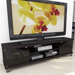 """dCOR design - Holland 70.75"""" Extra Wide TV Stand - Features: -Tempered safety glass doors.-Adjustable interior shelves.-TV Size Accommodated: Accomodates up to 80"""" TV.-Finish: Ravenwood black.-Powder Coated Finish: No.-Gloss Finish: No.-Material: Engineered wood & tempered glass.-Number of Items Included: 1.-Solid Wood Construction: No.-Distressed: No.-Exterior Shelves: Yes -Number of Exterior Shelves: 3.-Adjustable Exterior Shelves: No..-Drawers: No.-Cabinets: Yes -Number of Cabinets: 4.-Number of Doors: 2..-Scratch Resistant: No.-Casters: No.-Accommodates Fireplace: No.-Fireplace Included: No.-Lighted: No.-Media Storage: No.-Cable Management: Yes.-Remote Control Included: No.-Batteries Required: No.-Weight Capacity: 250 lbs maximim TV weight.-Swatch Available: Yes.-Commercial Use: No.-Collection: Holland.-Recycled Content: No.-Lift Mechanism: No.-Expandable: No.-TV Swivel Base: No.-Integrated Flat Screen Mount: No.-Hardware Material: Metal.-Non-Toxic: No.Specifications: -ISTA 3A Certified: No.-CARB 2 Certified: Yes.-CARB Certified: Yes.-FSC Certified: No.-General Conformity Certified: No.-CSA Certified: No.-EPP Certified: No.Dimensions: -Overall Height - Top to Bottom: 19.5"""".-Overall Width - Side to Side: 70.75"""".-Overall Depth - Front to Back: 15.75"""".-Shelving: -Shelf Height - Top to Bottom: 6.5"""".-Shelf Width - Side to Side (Top) : 33.5'.-Shelf Width - Side to Side (Bottom Two) : 18.5"""".-Shelf Depth - Front to Back: 13.75""""..-Cabinet: -Cabinet Interior Height - Top to Bottom: 13.5"""".-Cabinet Interior Width - Side to Side: 18.5"""".-Cabinet Depth - Front to Back: 13.75""""..-Legs: Yes.-Overall Product Weight: 83 lbs.Assembly: -Assembly Required: Yes.-Tools Needed: Screwdriver.-Additional Parts Required: No.Warranty: -Product Warranty: 1 year warranty."""