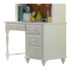 Hillsdale Furniture - Hillsdale Lauren Desk - The whimsical yet traditional styling of the Lauren desk and hutch makes it a delightfully timeless addition to any young girl's room. It provides a large amount of storage space with two large shelves and several drawers and the cork board inside the hutch allows for placement of notes or pictures. The drawers have French dovetail drawer fronts, English dovetail drawer backs and wood on wood drawer glides. The white finish coordinates with any decor you might choose.