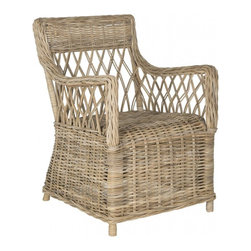Safavieh - Hinaku Arm Chair - A classic in traditional homes, the Hinaku arm chair boasts an open, airy lattice weave back that can only be achieved with flexible but sturdy Kubu grey rattan. This natural soft grey chair conjures images of leisurely afternoons in the conservatory.