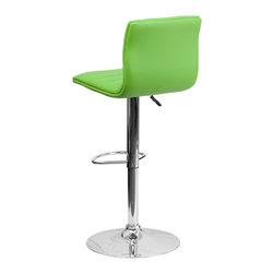 Flash Furniture - Flash Furniture Barstools Residential Barstools X-GG-NRG-1-32029-HC - This modern bar stool is upholstered in a durable vinyl upholstery and adjusts from counter to bar height. This armless design is gracefully contoured for your comfort. The height adjustable swivel seat adjusts from counter to bar height with the handle located below the seat. The chrome footrest supports your feet while also providing a contemporary chic design. [CH-92023-1-GRN-GG]