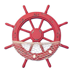 """Handcrafted Model Ships - Wooden Rustic Red Ship Wheel with Net and Shells 18"""" - Rustic Ship Wheel - This Wooden Rustic Red Ship Wheel with Net and Shells 18"""" is the perfect addition to any beach decor or seaside nautical decor theme. Heavily worn as if by the salty sea air and hard-working sailors' hands for many years, it is an ideal addition to a yard, beach house or boat house."""