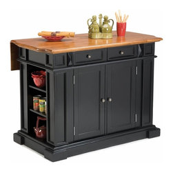 "Home Styles - Home Styles Kitchen Island with Breakfast Bar in Black - Home Styles - Kitchen Carts - 500394 - Versatile functional and stylish all describe this kitchen island with its black finished body and coordinating cottage oak finished top. Enhancing the overall style the top features hand applied physical and finished distressing. The island not only provides added kitchen work surface and storage but with its 11.5"" breakfast bar extended also provides a convenient place to grab a bite to eat or enjoy a morning cup of coffee. Find adjustable shelving on both ends of the island as well as two utility drawers and two cabinets each with two adjustable shelves yielding lots of storage. Construction is of sustainable hardwood with a clear coat finish helping to protect against wear from normal use. The Home Styles Black Finish Kitchen Island with Oak Finished Wood Top brings style and ease of use to your home. So slice dice and chop your way to perfection with this Kitchen Island. This beautiful kitchen island will be the center of attention for work and entertainment in your kitchen!"