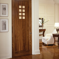 Art Deco door - TruStile AD1010 in walnut with maple accents and square stick (SS) sticking and flat (C) Panel