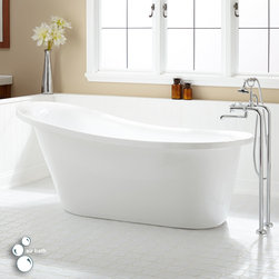 """67"""" Sadie Acrylic Slipper Air Tub - Bring a contemporary style and luxurious spa-like atmosphere to your bathroom with the Sadie Freestanding Acrylic Slipper Air Tub. The sleek shape and design is ideal for a modern home."""