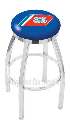 """Holland Bar Stool - Holland Bar Stool L8C2C - Chrome U.S. Coast Guard Swivel Bar Stool - L8C2C - Chrome U.S. Coast Guard Swivel Bar Stool w/ Accent Ring belongs to Military Collection by Holland Bar Stool Made for the ultimate sports fan, impress your buddies with this knockout from Holland Bar Stool. This contemporary L8C2C logo stool has a single-ring chrome base with a 2.5"""" cushion and a chrome accent ring that helps the seat to """"pop-out"""" at glance. Holland Bar Stool uses a detailed screen print process that applies specially formulated epoxy-vinyl ink in numerous stages to produce a sharp, crisp, clear image of your desired logo. You can't find a higher quality logo stool on the market. The plating grade steel used to build the frame is commercial quality, so it will withstand the abuse of the rowdiest of friends for years to come. The structure is triple chrome plated to ensure a rich, sleek, long lasting finish. Construction of this framework is built tough, utilizing solid mig welds. If you're going to finish your bar or game room, do it right- with a Holland Bar Stool. Barstool (1)"""
